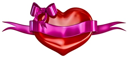 lillac: 3D heart with bow and lillac ribbon on a white background Stock Photo