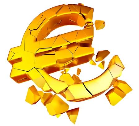 crisis economica: Broken euro como s�mbolo de la crisis econ�mica europea