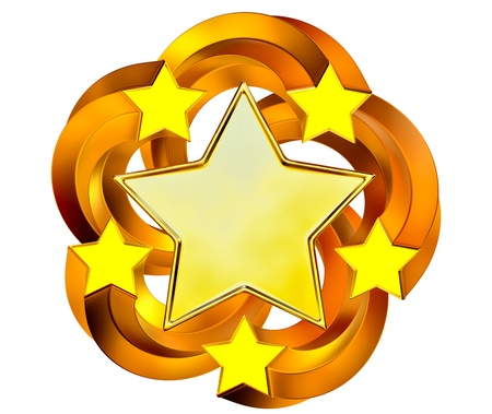 a set of six shiny gold stars in motion for advertise Stock Photo - 16053146