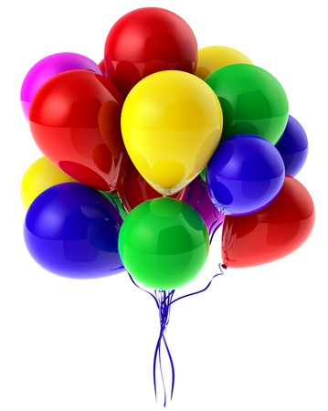 Flying bunch of balloons with helium for party Stock Photo
