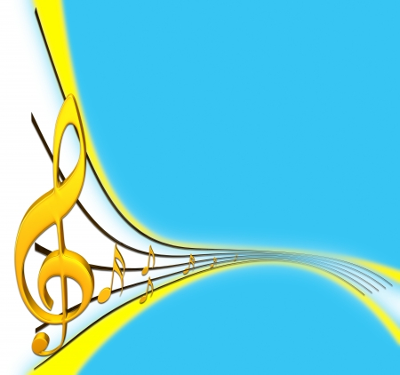 musical score: gold musical score with treble clef as a symbol of music creation