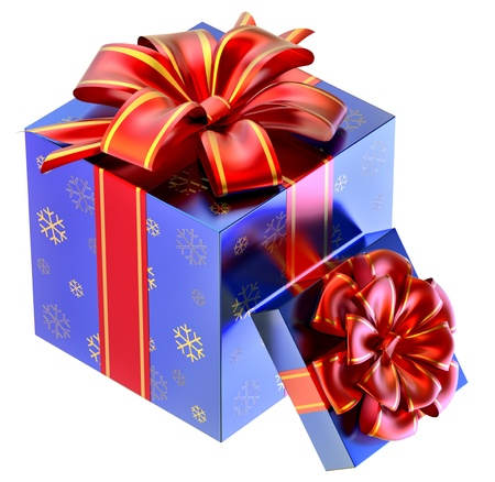 two blue boxes ornamented with the snowflakes and decorated by red bows as gifts