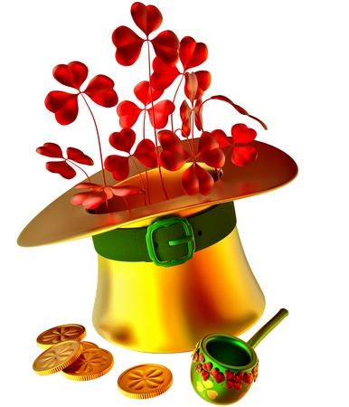 golden hat, red shamrocks and set of gold coins as a symbol of wealth photo