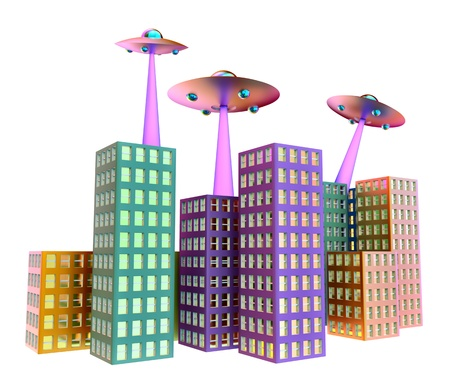 three UFOs with light beams scans empty buildings Stock Photo - 16230760