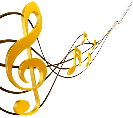 stave: gold musical score with treble clef as a symbol of music creation