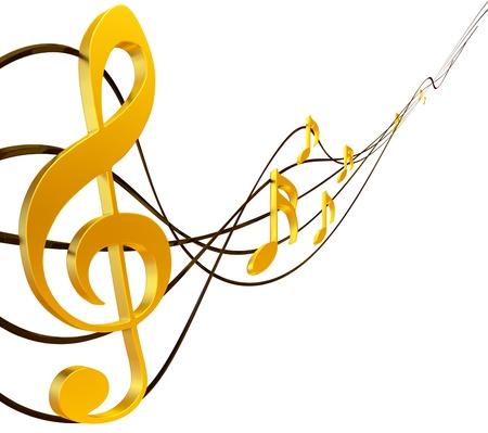 clave de fa: Puntuación de oro musical con clave de sol como símbolo de la creación musical