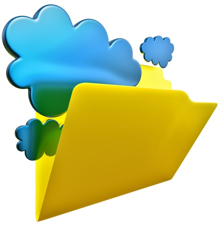 insurmountable: folder with blue clouds as symbol of cloud storage Stock Photo