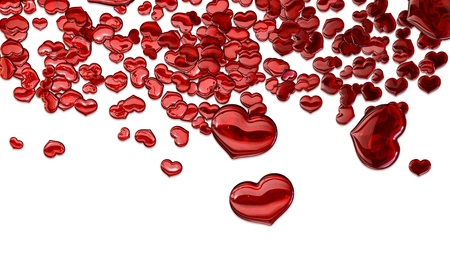 Set of red glass hearts as symbol of love as symbol of love photo
