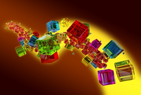 ray tracing: yellow, red, blue and green flying glass cubes on brown background