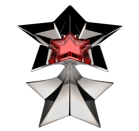 shiny silver star with red star core in motion for advertise photo