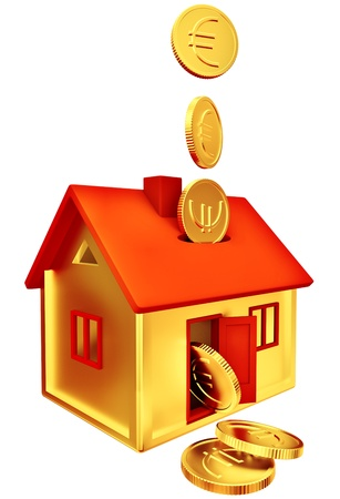 euro coins falling down into a piggy-bank in the form of a gilded house as a symbol of the accumulation photo