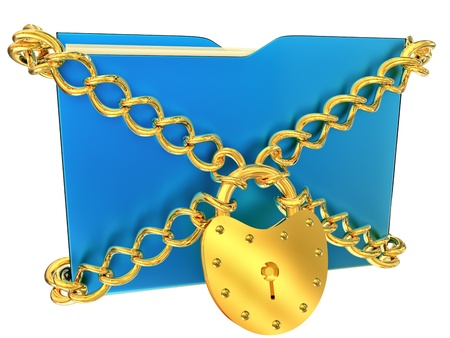 in blue folder with golden hinged lock and chains, stores important information photo