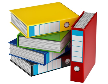insurmountable: red, yellow, blue, green and black folders stores important documents on abstract background Stock Photo