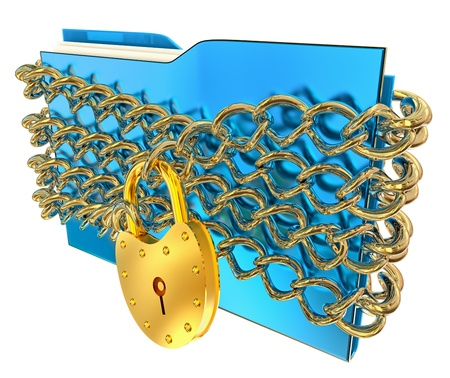 insurmountable: in blue folder with golden hinged lock and chains, stores important information Stock Photo