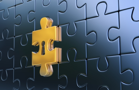final piece of puzzle: Metallic jigsaw puzzle and outstanding golden piece with keyhole as a symbol of disclosure puzzle  3d render