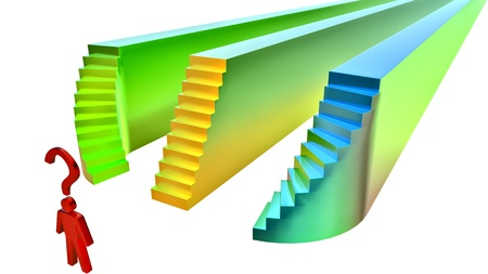 best way: man chooses the stairs and path as a symbol of selection the best way for life