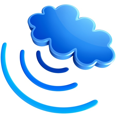 Powerful digital transmitter for TV, PC, mobile and multimedia broadcast sends information signals from blue clouds as symbol of cloud storage photo