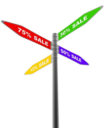 road sign pointing into four directions with different sales discounts photo