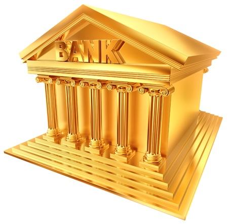 columnas romanas: S�mbolo de oro 3D en una forma estilizada de un edificio del banco Foto de archivo