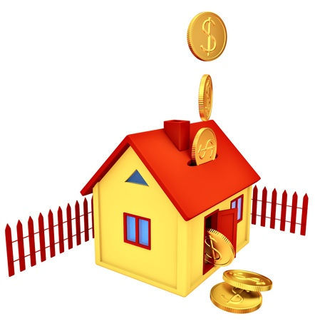 dollar coins falling down into a piggy bank in the form of a gilded house as a symbol of the accumulation photo