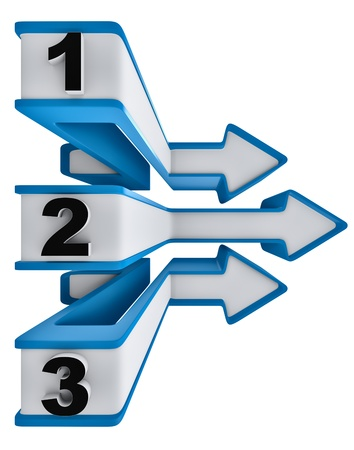 One two three - icons of symbol progress of overcoming obstacles for three steps with arrows for choice of motion for directions Stock Photo - 16715593