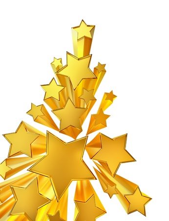 moving golden stars with zoom on white background Stock Photo - 16800141