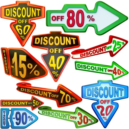 set of arrow shaped labels   stickers for sales with big variety of discounts Stock Photo - 16872134