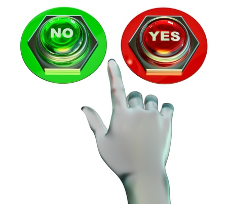 Yes and no buttons set for approved or rejected  Make the choice Stock Photo - 16872132