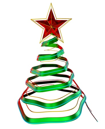 christmas tree with red star, made from glass as decorative holiday greeting card Stock Photo - 16872138