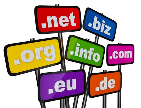 Set of signs with domains as buttons for searching in the Internet and social networks on a white background Stock Photo - 16872136