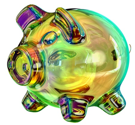 moneybox: money-box in the form of a colored glass piggy bank as a symbol of the accumulation