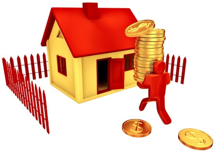 Person invest dollars in his future house Stock Photo - 16928691