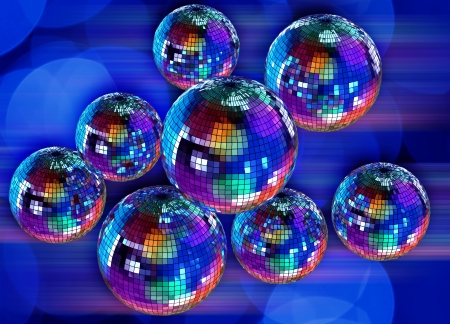 Colorful funky background with mirrored glitter disco balls for party Stock Photo - 16928694