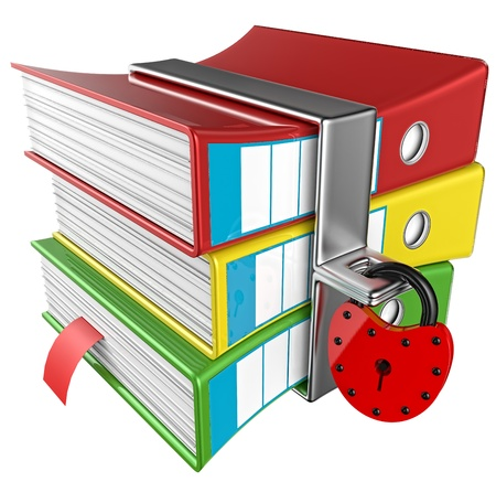 lockbox: three colored folders with red hinged lock, stores important information