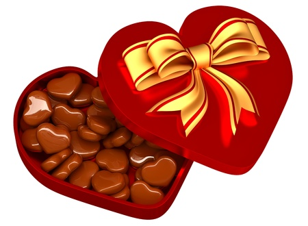 Allsorts milk chocolate in the form of heart in a red box with a golden bow as a sweet gift for perfect Valentine s Day  Stock Photo - 17360979