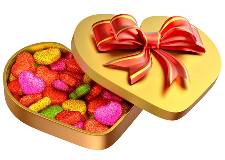 Allsorts sugared candy in the form of heart in a golden box with a red bow as a sweet gift for perfect Valentine s Day  Stock Photo - 17630016
