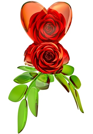beautiful red roses with green leafs and glass heart as decoration for celebration of Valentine s Day Stock Photo - 17729939