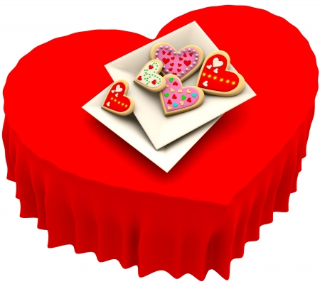 Allsorts individual heart-shaped butter cookies on the square plate for Valentine s Day Stock Photo - 17843445