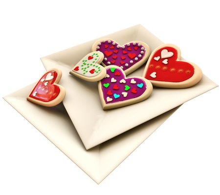 Allsorts individual heart-shaped butter cookies on the square plate for Valentine s Day photo