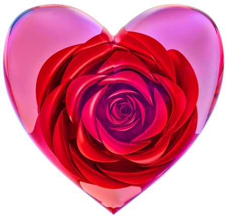 beautiful red rose in glass heart as decoration for celebration of Valentine s Day photo