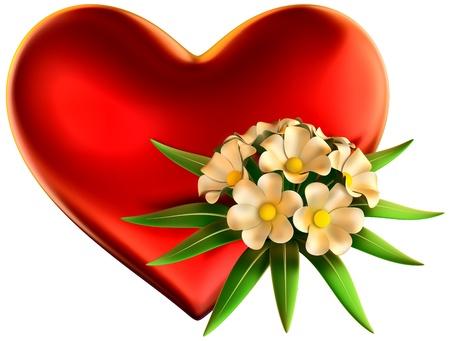 Weiße Blumen Bouquet Mit Großen Roten Herzen Für Die Feier Der ...
