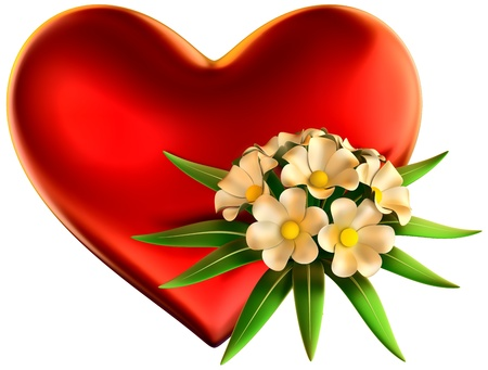 white flowers bouquet with big red heart for celebration of Valentine s Day on white background Stock Photo - 17843457