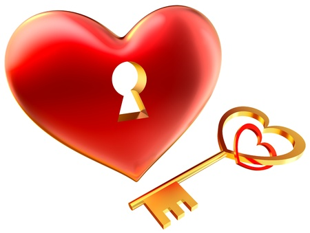 metalic red heart with keyhole as symbol of love for wedding and Valentine s Day design photo