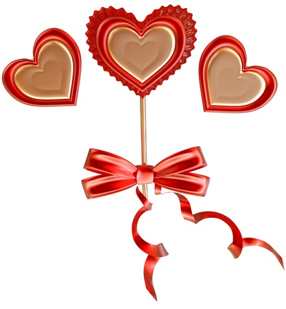 golden and red lollipop tied with a bow and long ribbons decorated two hearts Stock Photo - 17843459