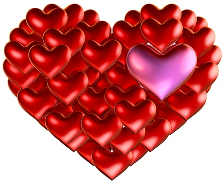 set of red hearts put in heart shape for wedding and Valentine s Day design Stock Photo - 17843461