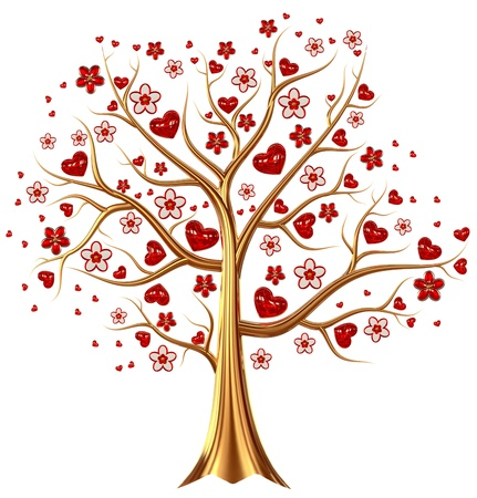Beautiful golden tree with expensive ruby red heart-shaped leafs, and vermeil flowers as jewelry Stock Photo - 17843483