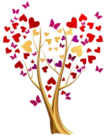Beautiful golden tree with ruby red and lilac heart-shaped leafs, and flying butterflies around tree Stock Photo - 17843462