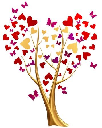 mariposas volando: Hermoso árbol de oro con rubí rojo lila y hojas en forma de corazón y mariposas que vuelan alrededor del árbol Foto de archivo