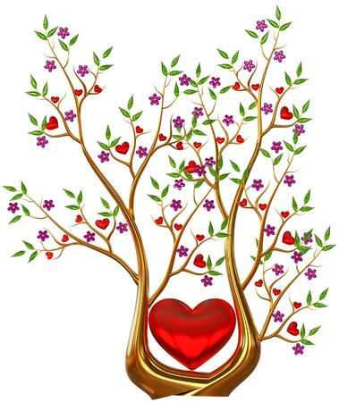 Beautiful golden tree with expensive ruby red hearts, green leafs and lilac flowers as jewelry Stock Photo - 18001346