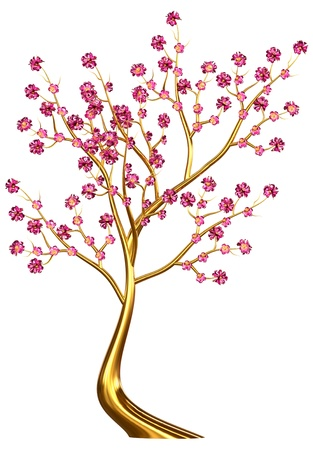 Beautiful golden tree with expensive lilac flowers as jewelry Stock Photo - 18001354